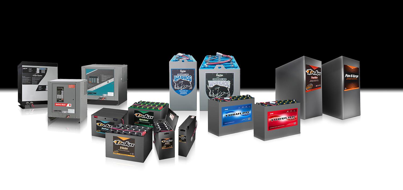 Batteries pour chariots élévateurs, chargeurs, accessoires et systèmes