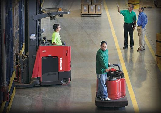 Reach truck, pallet jack, Raymond pallet jack, The Container Store warehouse