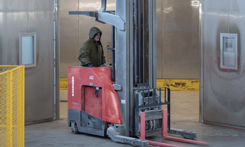 high capacity reach truck, cold storage, refrigerated storage
