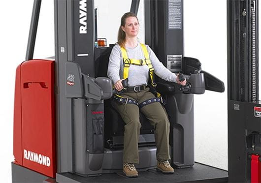 Raymond 9000 Series Swing Reach Turret Trucks Comfortable Operator Compartment