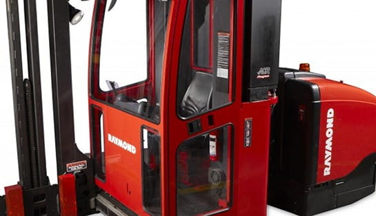 Raymond 9800 Swing Reach Turret Truck with Optional Enclosed Operator's Cab