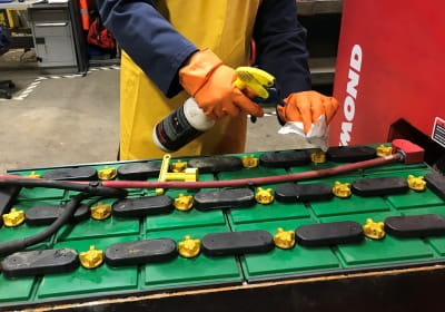 maintaining forklift batteries